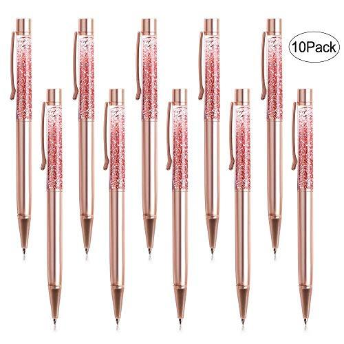 Ballpoint Pens, BYSOU 4 Pcs Rose Gold Metal Pen Refills Bling Dynamic Liquid Sand Pen Black Ink for Office Supplies (10 pieces)