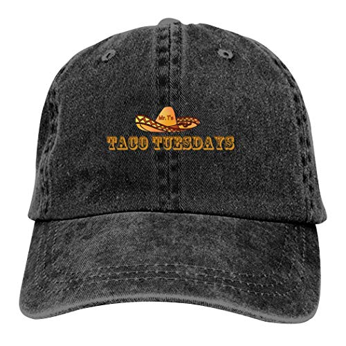 ToshSus Taco Tuesday Fun Dad Hat Adjustable Cotton Hat for Men and Women Baseball Cap Black