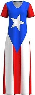 Puerto Rico Flag Rican Women's Short Sleeve Maxi Dress Size XS-3XL