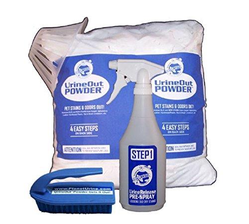 Planet Urine Pet Odor Eliminator System, Dog and Cat Urine Remover, 24 Oz UrineRelease PreSpray & 8 Lb UrineOut Powder, with Scrubbing Brush and Blacklight