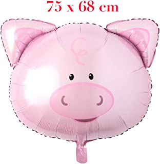 Huge Animal Head Safari Foil Balloon Inflatable Air Ballon Happy Birthday Christmas Party Decorations Kids Baby Shower Party Supplies (Huge Pig Head)