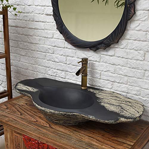 Vast Creative Stone Carving Art Vesselvormige wastafel handgemaakte slijtvaste wastafel, 97CM * 49CM * 15CM 1224