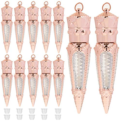 RONRONS 12 Pieces 5 ml/0.17Oz Novelty Empty Lip Gloss Tubes with Soft Brush Tip Applicatior Refillable Lipgloss Containers Lip Balm Packaging Tube for Women Girls DIY Cosmetics, Rose Gold