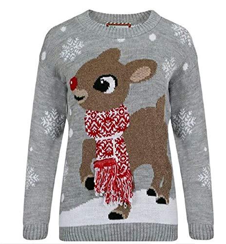 GirlzWalk ® Erwachsene Frauen Baby Hirsch Weihnachts Jumper Damen Strick Schal Bambi Xmas Jumper (Grau, XXXL/EUR 52-54)