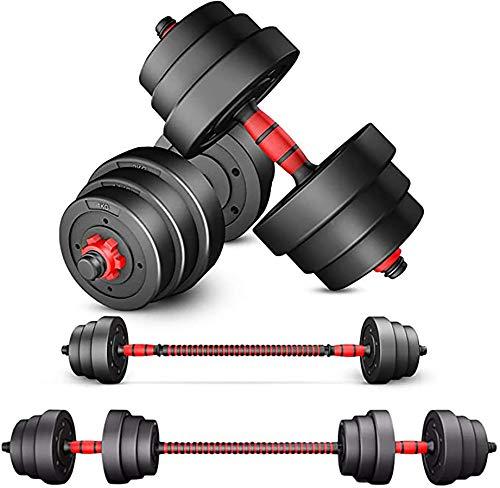 H&N Fashion - Juego de mancuernas ajustables de 44 libras para levantamiento de pesas 4 collares giratorios y 2 opciones de conector para gimnasio en casa y entrenamiento de culturismo