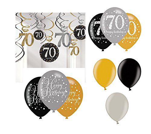 Feste Feiern Geburtstagsdeko 70. Geburtstag I 21 Teile Deko-Set Luftballon Spiralen Swirl Girlande Gold Schwarz Silber metallic Deko Happy Birthday 70