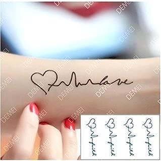 Bhbuy Women Tattoos Tool Electrocardiogram Heart Waves Temporary Tattoos Waterproof Stickers 5 Pack