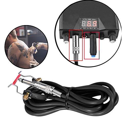 Tattoo Clip Cord, Silikon Tattoo Stromversorgung Drahthaken Schnurclip Kabel für Schnittstelle Tattoo Power Conversion Kit 2,35 m / 92,5 Zoll(Schwarz)