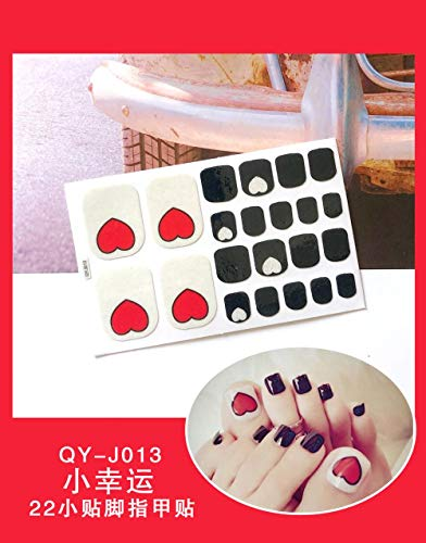 BGPOM Foot Stickers Nail Stickers Nail Stickers Fully Waterproof Lasting 3D Toenail Stickers Patch 10 Sheets/Set,Little Lucky (QY-J013)