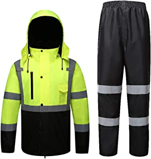 JTRHD Chaqueta Impermeable Impermeable Espesar Lluvia Traje Impermeable y Transpirable Pantalones con Rayas reflexivo Ropa...