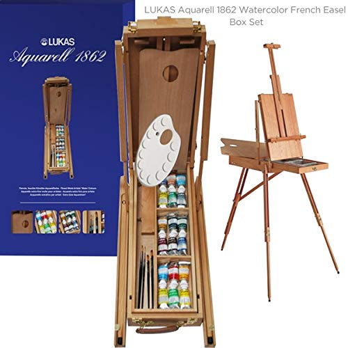 Lukas Aquarell 1862 Watercolor French Easel Box Set 18 37ml Tubes with Palette and Brushes