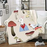 毛布 3Dデジタル印刷漫画動物二重厚い珊瑚フリース毛布冬の寝室ソファリビングルーム暖かい毛布 D 150*200cm