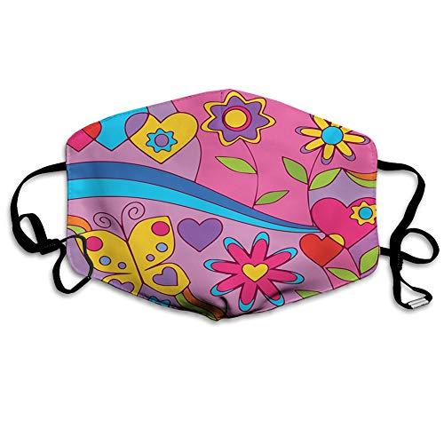 MSGDF MundschutzMundAnti-Staub-Abdeckung,Kids Nursery Theme with Cute Flowers and Butterflies Hearts Cartoon,MouthCverWiederverwendbareFack-Abdeckung