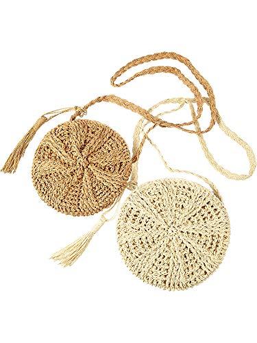 2 Pieces Woven Straw Handbag Beach Shoulder Bag with Tassels Straw Crossbody Purse Retro Envelope Shoulder Bag for Women Girls (Round Shape)