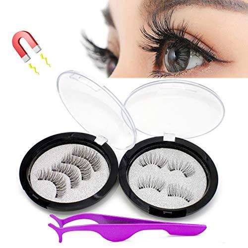 Magnetic lashes-magnetic eyelashes, Reusable Natural Full Eye Deluxe Ultra Thin Magnetic eyelashes,one Eyelash Tweezers two Fake Lashes Storage Box -8pcs lashes