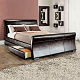 Lune <span class='highlight'><span class='highlight'>Bed</span>s</span> 4FT6 Double Size Leesa 4 Drawer <span class='highlight'>Storage</span> <span class='highlight'>Sleigh</span> Leather <span class='highlight'>Bed</span> - Black