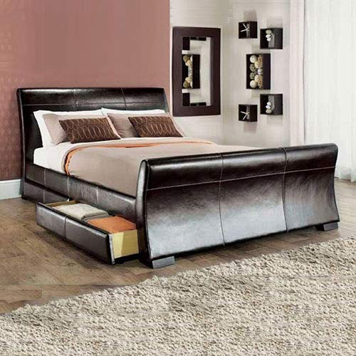 Lune Beds 4FT6 Double Size Leesa 4 Drawer Storage Sleigh Leather Bed - Black