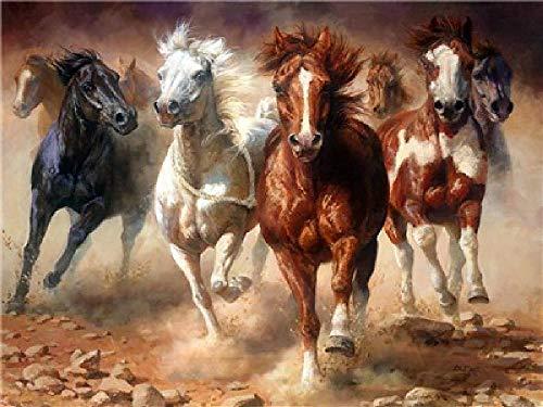 None Branded Ölgemälde digital zum Selbermachen - Pferd im Galopp Dekoration Wandbild Geschenk Moderne Kunst für die Freizeit handbemalt 40 x 50 cm