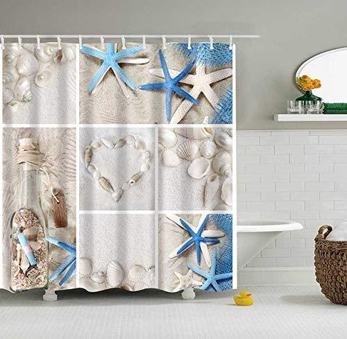 """Beach Shower Curtains for Bathroom 3D Printing Fabric Blue Bathroom Curtains Shower Set Sea Shells Starfish Beach Bathroom Decor with 12 Hooks(style7,180x180cm(70.8""""x70.8""""))"""