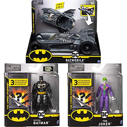 DC Comics BATMAN, Batmobile and Batboat 2-in-1 Transforming Vehicle with BATMAN 4 Inch Action Figures with 4 Inch Rebirth Figure with 3 Mystery Accessories with 4 Inch THE JOKER Action Figure