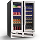 MOOSOO 24 Inch Beverage and Wine Cooler Dual Zone, 18 Bottles and 57 Cans Wine Refrigerator with Independent Temperature Control, 2-in-1 Freestanding Wine Fridge, Anti-ultraviolet Steel Glass Door & Temperature Memory Function