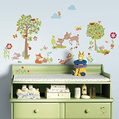 RoomMates RM - Waldtiere und Freunde Wandtattoo, PVC, bunt, 29 x 13 x 2.5 cm