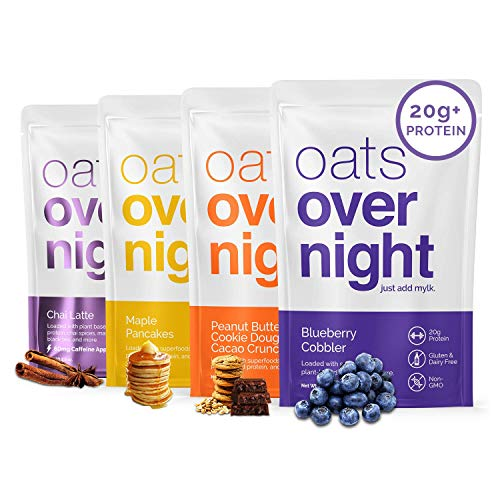 Oats Overnight - Dairy Free Variety Pack (24 Pack) High Protein, Low Sugar Breakfast - Gluten Free, High Fiber, Non GMO Oatmeal (2.6oz per pack)