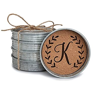 Occasionally Made Monogram K Mason Jar Lid 4 Coaster Stack