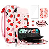 FANPL Pink Carry Case Bundle for Nintendo Switch, Cute Case Accessories Set for Switch with Hard...