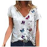 CNBOY Camiseta Corta para Mujer, Camiseta Larga para Mujer, Camiseta con Mangas de Rayas para Mujer, Camiseta con Cuello Redondo para Mujer de Verano, Camiseta Casual de Mujer en Color de Contraste