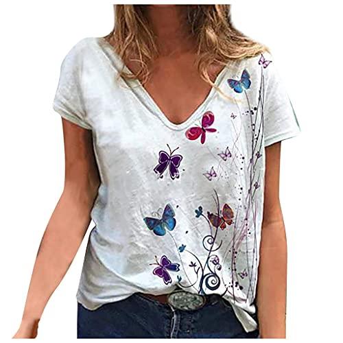 CNBOY Camiseta Corta para Mujer, Camiseta Larga para Mujer, Camiseta con Mangas...