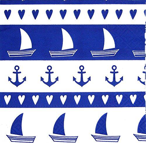 osters muschel-sammler-shop Servietten/Zellstoffservietten/Maritime Muster-Motiv / 33x33cm / 20 Stück-Packung (Schiffe)