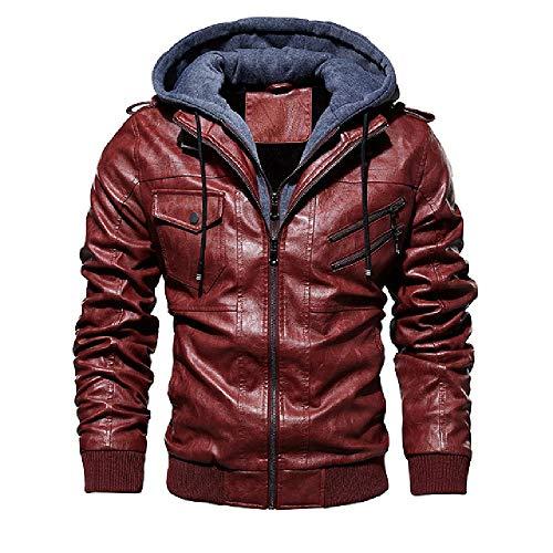 N\P Chaquetas de cuero para hombre de invierno casual abrigo de motocicleta motociclista chaqueta de cuero con capucha cremallera