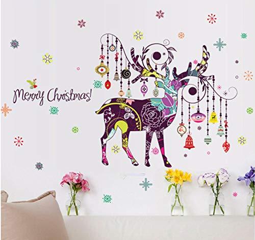 Coloré peint à la main de Noël wapitis stickers muraux carillons éoliens créatifs suspendus neige salon couloir décor translucide décalque 60x90cm