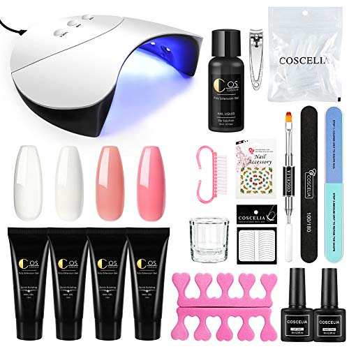 Saint-Acior Kit 4pc Estensione poly Unghie Gel per unghie Ricostruzione con 36W LED Sensore Automatico UV Lampada e gli strumenti decorazione nail arte manicure per unghie completo