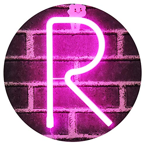 Light Up Letters for Wall Decor, Neon Art Light Letters of The Alphabet Marry Me Decorations for Bedroom, Living Room, Wedding Party-Pink Letter R