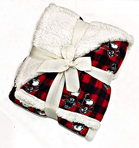 Berkshire Blanket & Home Co. Charlie Brown & Snoopy (Peanuts) Christmas Holiday Plush Cabin Plaid Sherpa (Fleece) Throw Blanket