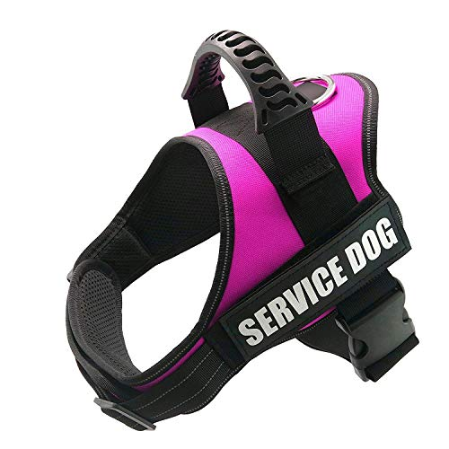 """FAYOGOO Dog Vest Harness for Service Dogs, Comfortable Padded Dog Training Vest with Reflective Patches and Handle for Large Medium Small Dogs (L: Chest 28-37"""" Neck 23-29"""", Pink)"""