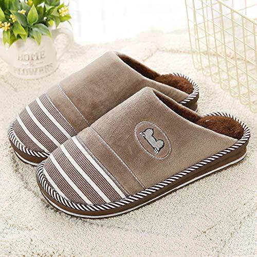 Qsy shoe Pantoufles d'automne et d'hiver en Coton Chaud Bicolore Fond Couple antidérapant Rayures, café, Femmes 270CM37-38