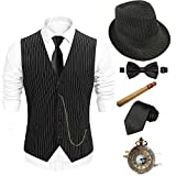 1920s Mens Fedora Hat,Gatsby Gangster Vest,Vintage Pocket Watch,Plastic Cigar,Pre Tied Bow Tie,Tie (TWVest-TWBKHat, X-Large)