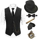 1920s Mens Costume Accessories Set - Fedora Hat,Gatsby Gangster Vest,Vintage Pocket Watch,Plastic Cigar,Pre Tied Bow Tie,Tie,M