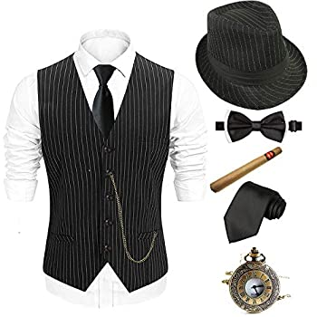 1920s Mens Costume Accessories Set - Fedora Hat,Gatsby Gangster Vest,Vintage Pocket Watch,Plastic Cigar,Pre Tied Bow Tie,Tie,L