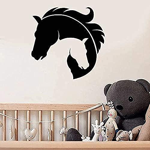 Pegatinas de pared sala de estar cabeza de caballo tatuajes de pared dormitorio de la madre y el bebé decoración del dormitorio vinilo ventana pegatinas de vidrio arte 57X57Cm