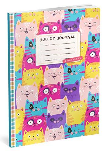 Bullet Journal: Punktraster Notizbuch (Ca. A5) + 100 Seiten + Vintage Softcover | TOP Motiv: Katzen | Dot Grid Journal, Kalligraphie Übungsheft, Punktpapier +++ Jetzt mit Register +++