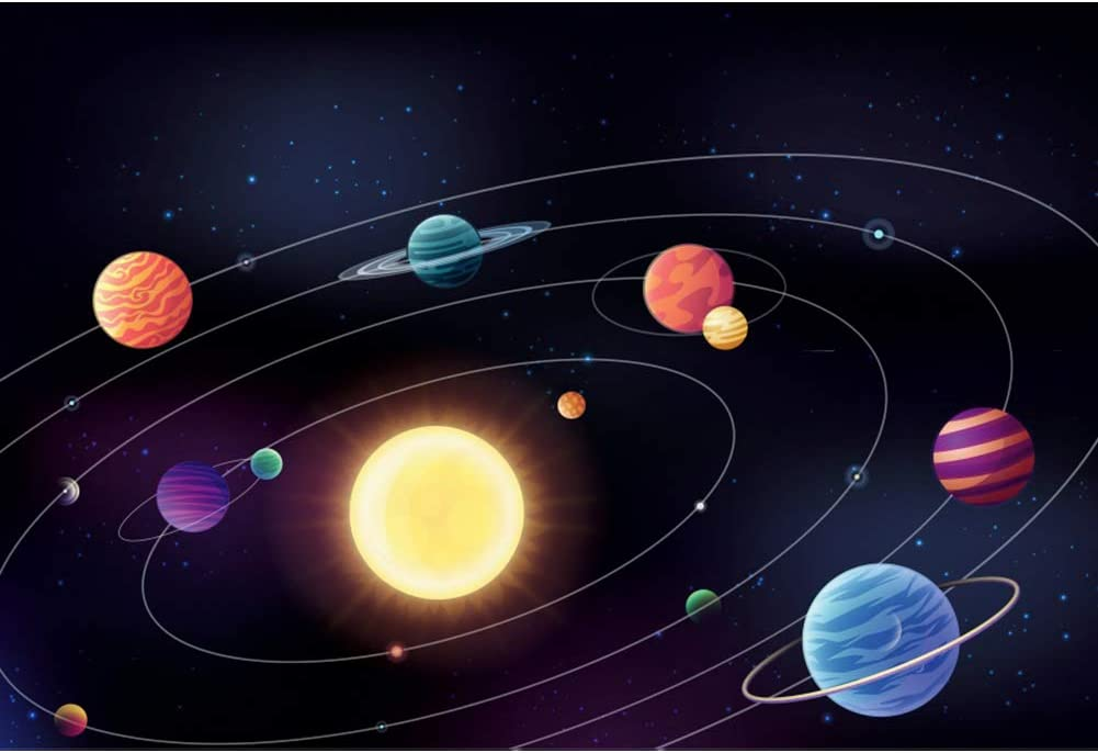 Haoyiyi 10x6.5ft Outer Space Background Planet Galaxy Nebula Starry Sky Sun Backdrop Photography Photo Children Birthday Baby Shower Exploring Stars Exhibition Portrait Decorations