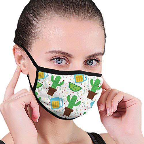 Unisex Mexican Cactus Plant en Tequila Lemon 17,5 cm x 12,5 cm mondbescherming katoen soft half gezicht cover biker cover stofbescherming cover