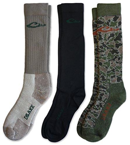 Drake Men's Merino Wool Insulated Full Cushion Sock Liner Cold Weather Boot Socks 3 Pair (Mocha/Black/Camo Green, Men's Shoe Size 9-13 - Sock Size Large)