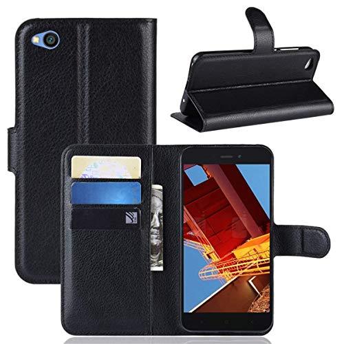 Capa Capinha Carteira Case 360 Para Xiaomi Redmi Go Com Tela De 5.0 Couro Sintético Flip Wallet Para Cartão - Danet (Preta)