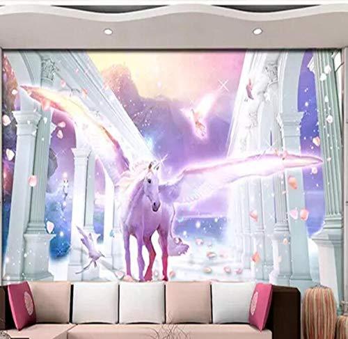 3D vliesbehang fotobehang abstract fotobehang 3D Romantic Unicorn mooie achtergrond wanddecoratie 350*245 350 x 245 cm.