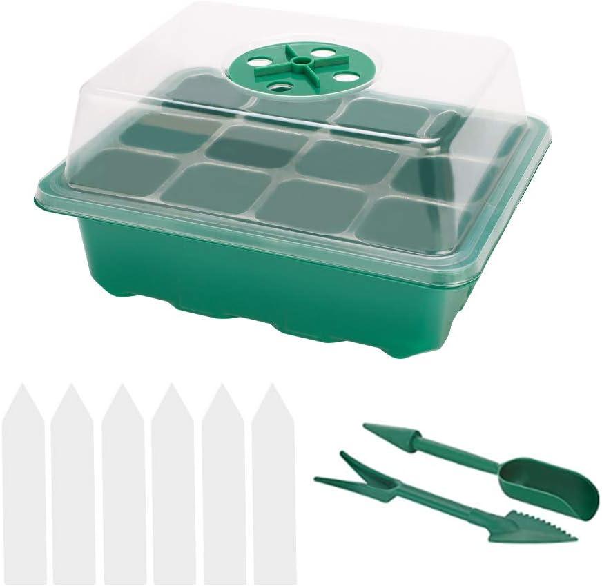 Bandeja Semillas, Mengxin 6 Conjuntos Bandeja Semillero para Germinación y 6 Pcs Etiquetas Plantas Plastico Bandeja de Plántulas para Cultivo de Germinación de Semillas de Invernadero